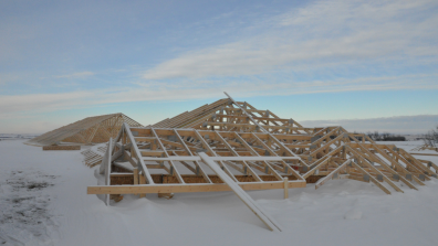 Roof was built on ground then craned up